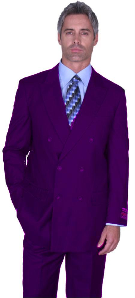 SKU#PRL8131 Purple Double Breasted Super 150s Wool Suit Pre Order Collection 30 Days Delivery $795