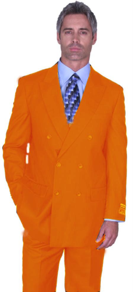SKU#ORG8180 Orange Double Breasted Super 150s Wool Suit Pre Order Collection 30 Days Delivery $475