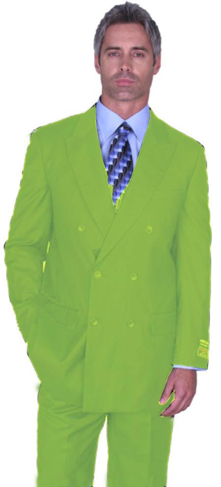 SKU#AGE9051 Apple Green Double Breasted Super 150s Wool Suit Pre Order Collection 30 Days Delivery $795