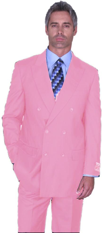 SKU#PNK1323 Pink Double Breasted Super 150s Wool Suit Pre Order Collection 30 Days Delivery $475