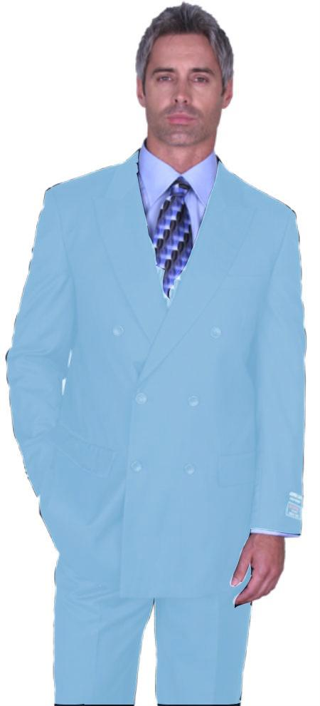 SKU#SKB6565 Light Blue ~ Sky Blue Double Breasted Super 150s Wool Suit Pre Order Collection 30 Days Delivery $475