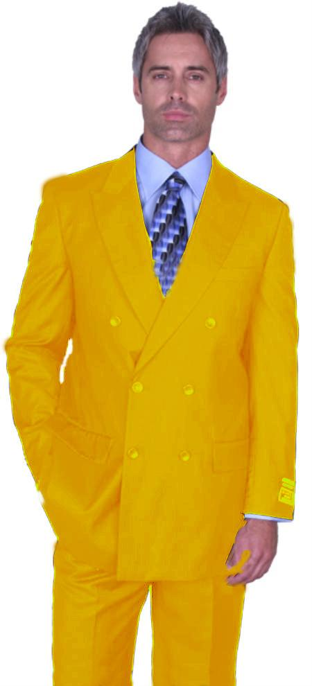 SKU#GLD4261 Gold Double Breasted Super 150s Wool Suit Pre Order Collection 30 Days Delivery $475