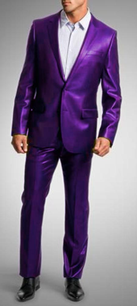 SKU#PRL9182 Shiny Sharkskin Bright Flashy Satin Metallic Purple Suit $175