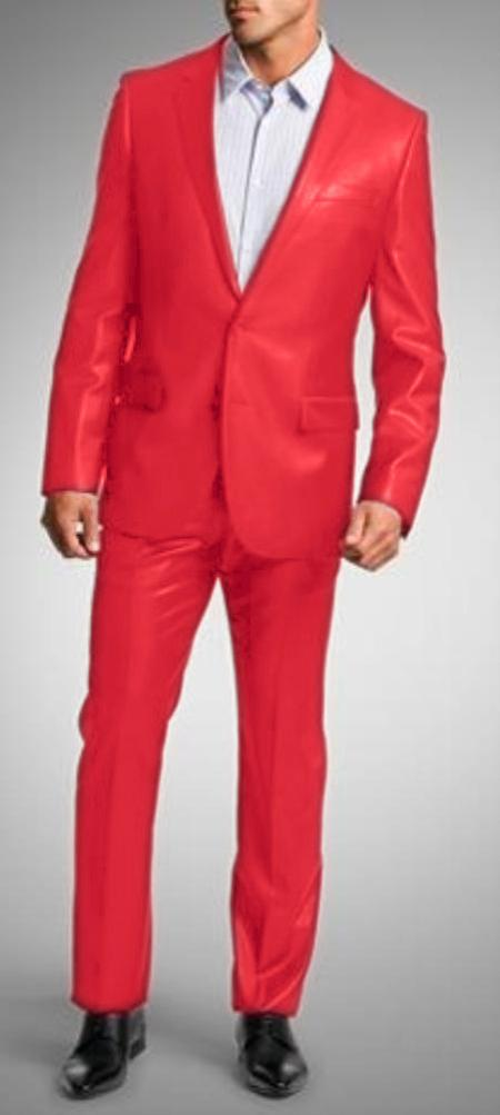 "SKU#RDE3421 Shiny Sharkskin Bright Flashy Satin Metallic Red Suit Pre Order Collection ""80 Days Delivery"" $750"
