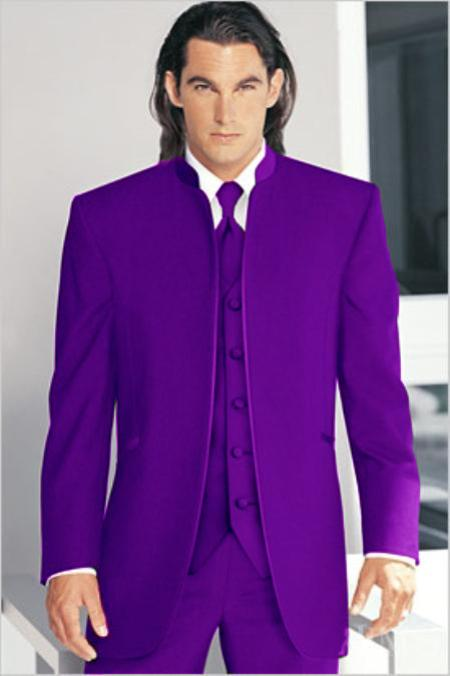 "SKU#PLE7012 Mirage Tuxedo Mandarin Collar Purple Vested 3PC No Buttons Pre Order Collection Delivery in 30 days"" $795"