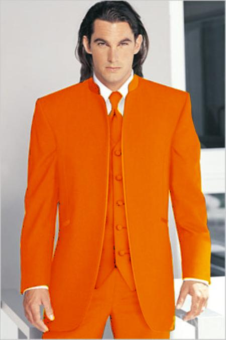 "SKU#ORH1721 Mirage Tuxedo Mandarin Collar Vested 3PC Orange No Buttons Pre Order Collection ""Delivery in 30 days"" $695"