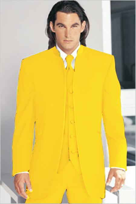 "SKU#YLW1826 Mirage Tuxedo Mandarin Collar Yellow Vested 3PC No Buttons Pre Order Collection ""Delivery in 30 days"" $795"