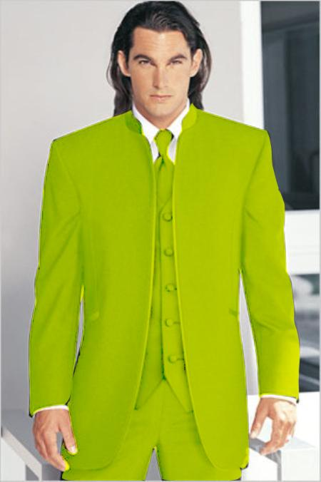 "SKU#AGP3882 Mirage Tuxedo Mandarin Collar Apple Green No Buttons Pre Order Collection ""Delivery in 30 days"" $795"