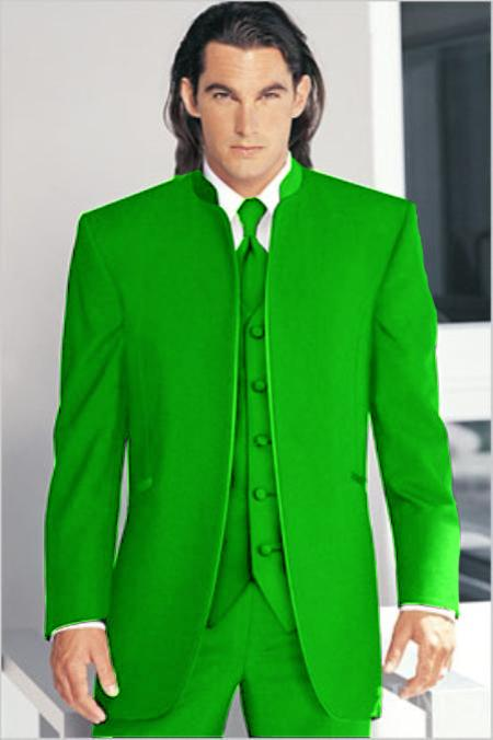 "SKU#LMR2101 Mirage Tuxedo Mandarin Collar Lime Green Vested 3PC No Buttons Pre Order Collection ""Delivery in 30 days"" $795"