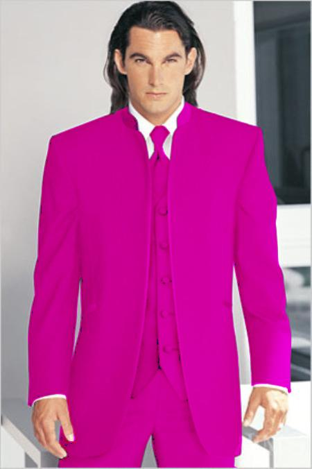 "SKU#RDS9177 Mirage Tuxedo Mandarin Collar Rose Vested 3PC No Buttons Pre Order Collection ""Delivery in 30 days"" $795"