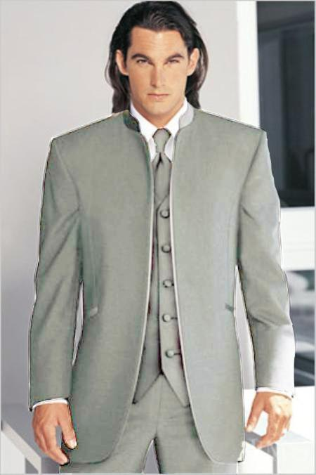 "SKU#SLV5811 Mirage Tuxedo Mandarin Collar Silver Vested 3PC No Buttons Pre Order Collection Delivery in 30 days"" $795"