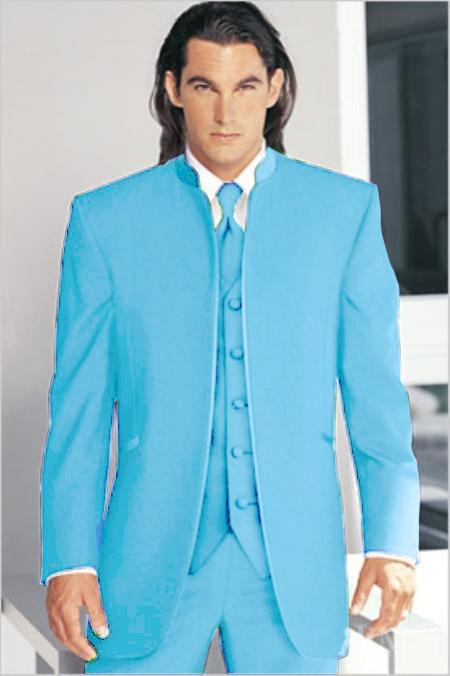 "SKU#SBL7103 Mirage Tuxedo Mandarin Collar Light Blue ~ Sky Blue Vested 3PC No Buttons Pre Order Collection ""Delivery in 30 days"" $795"