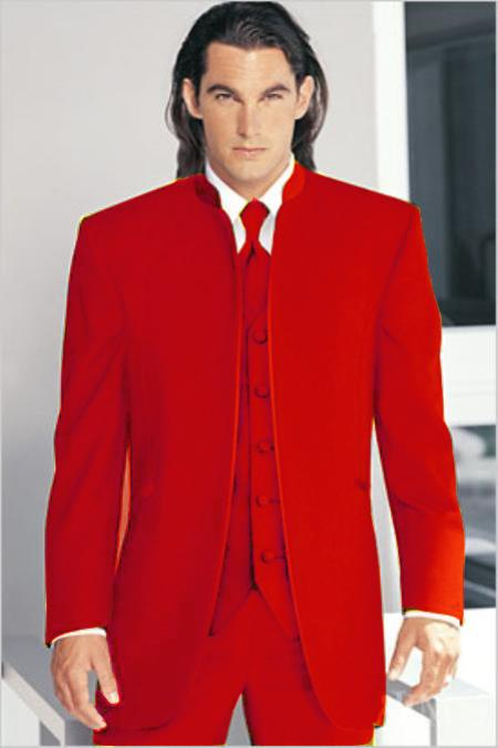 "SKU#RED1926 Mirage Tuxedo Mandarin Collar Red Vested 3PC No Buttons Pre Order Collection ""Delivery in 30 days"" $795"
