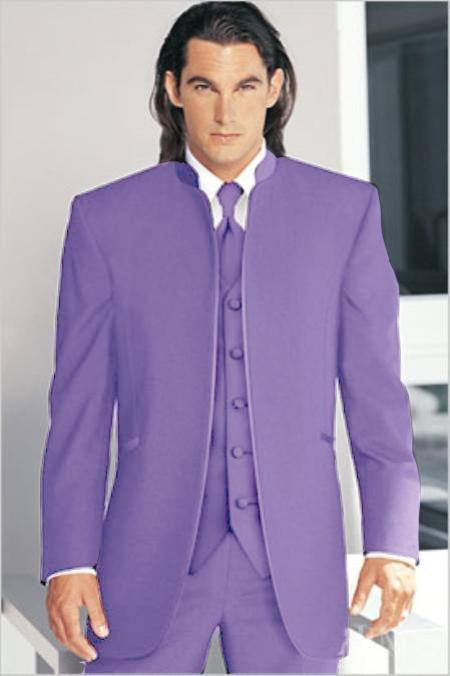 "SKU#LVD0132 Mirage Tuxedo Mandarin Collar Lavender Vested 3PC No Buttons Pre Order Collection ""Delivery in 30 days"" $795"