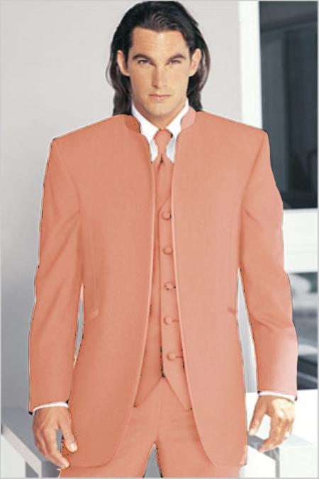 "SKU#PCE2901 Mirage Tuxedo Mandarin Collar Vested 3PC Peach No Buttons Pre Order Collection ""Delivery in 30 days"" $795"