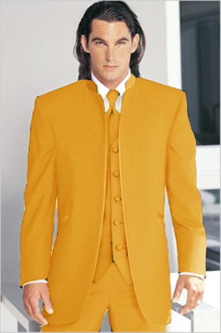 "SKU#MSD1201 Mirage Tuxedo Mandarin Collar Vested 3PC Mustard No Buttons Pre Order Collection Delivery in 30 days"" $795"
