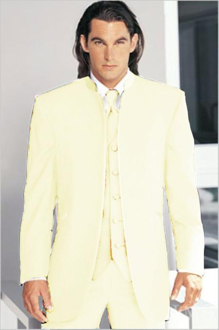 "SKU#CRE1551 Mirage Tuxedo Mandarin Collar Cream No Buttons Pre Order Collection ""Delivery in 30 days"" $795"
