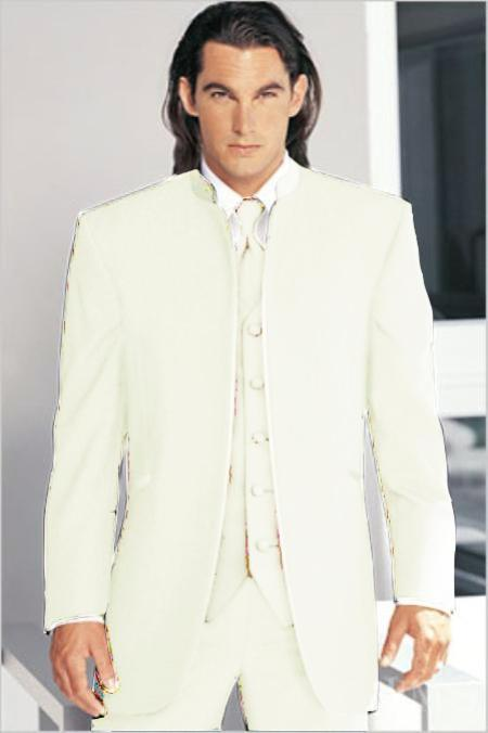 "SKU#OWH6566 Mirage Tuxedo Mandarin Collar OFF White Vested 3PC No Buttons Pre Order Collection ""Delivery in 30 days"" $795"