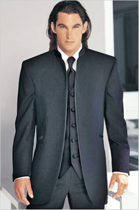 "SKU#CHG7901 Mirage Tuxedo Mandarin Collar Charcoal Gray No Buttons Pre Order Collection ""Delivery in 30 days"" $795"