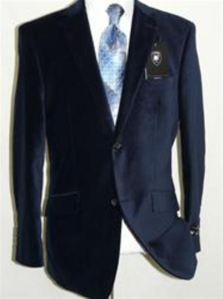 SKU#IT5546 Velvet Navy Blue Sport Coat Blazer By Giorgio Cosani $139