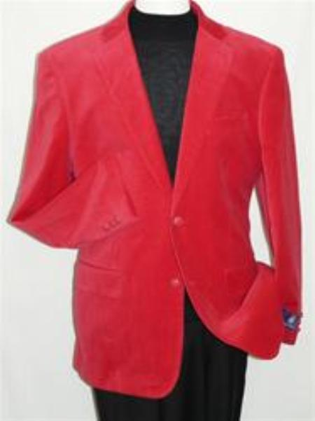 SKU#YT5542 Red Velvet Blazer Jacket