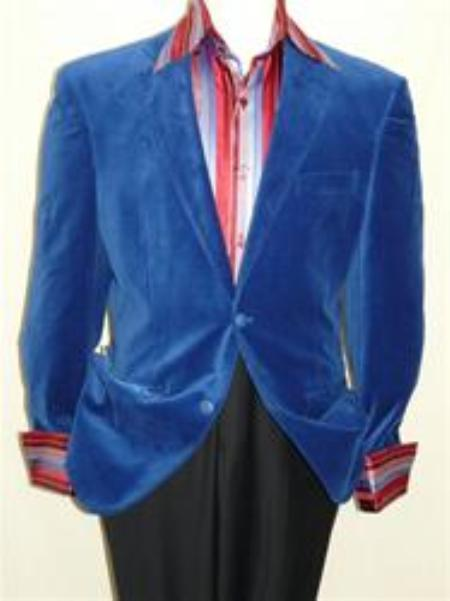 SKU#LT5546 Royal Blue Velvet Blazer Jacket