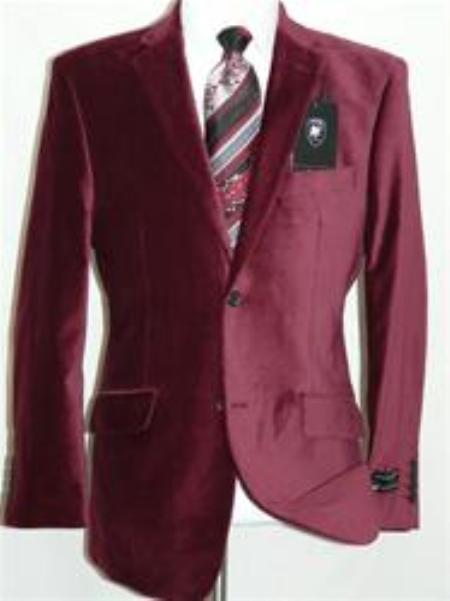 SKU#JR5548 Velvet Burgundy Sport Coat Blazer $139