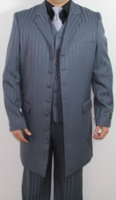 SKU#TP4789 Mens 7 Button Zoot Suit Grey Tonal Striped Pattern Suit $149