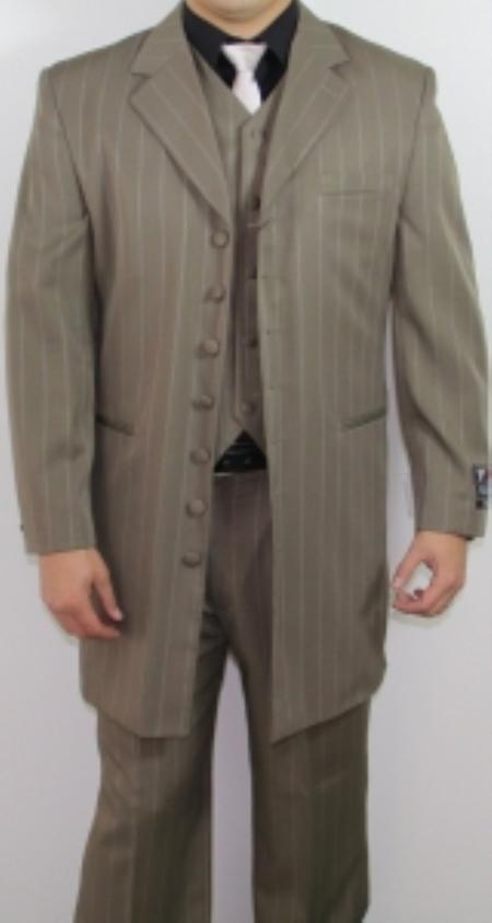 SKU#FR4125 Mens 7 Button Zoot Suit Taupe Pin Striped Suit $149
