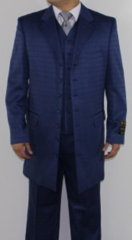 SKU#KS4452 Mens 7 Button Zoot Suit Navy Tonal Window Pattern Suit $149