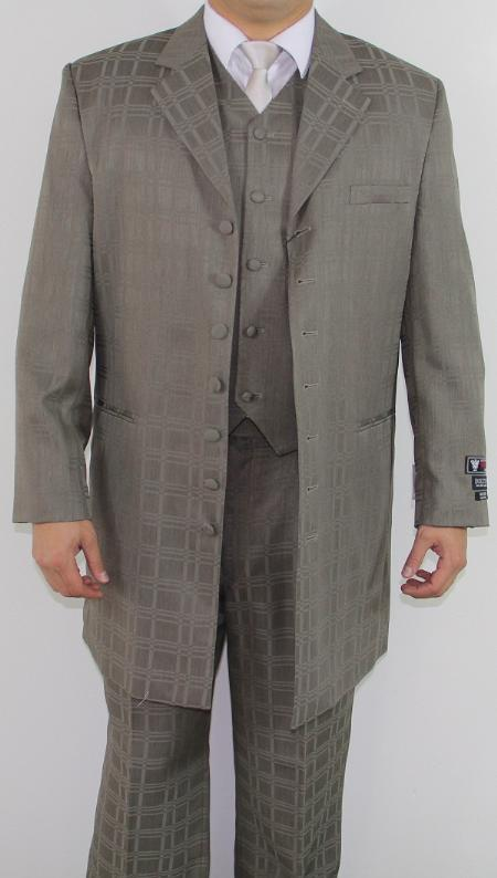 SKU#MN2214 Mens 7 Button Zoot Suit Taupe Tonal Window Pattern Suit $149