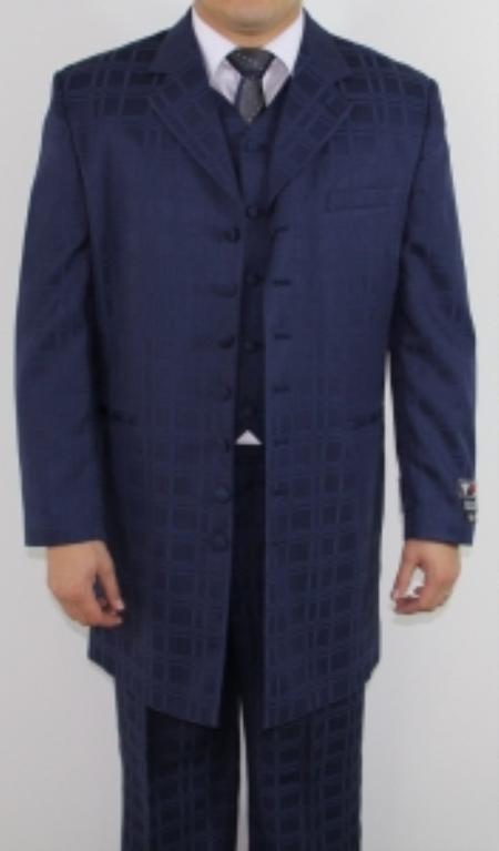 SKU#RE2179 Mens 7 Button Zoot Suit Navy Tonal Window Pattern Suit $149