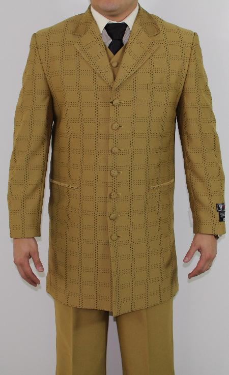 SKU#MQ2177 Mens 7 Button Zoot Suit Mustard Tonal Window Stitched Pattern Suit $149