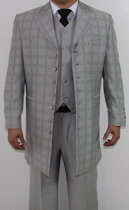 SKU#LB5548 Mens 7 Button Zoot Suit Light Grey Tonal Window Stitched Pattern Suit $149