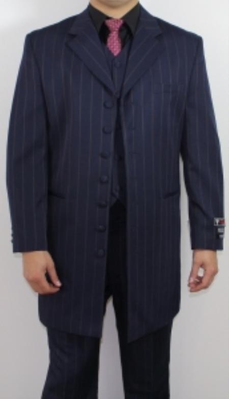 SKU#BT8875  Mens 7 Button Zoot Suit Blue Pin Striped Suit $175