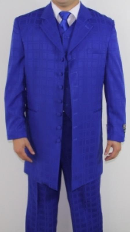 SKU#JP4542 Mens 7 Button Zoot Suit Royal Blue Tonal Window Pattern Suit $149