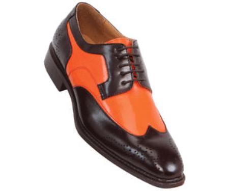 SKU#MA5563 classic comfortable latest in fashion Brown / Orange Mens Two Tone Dress Shoe $125
