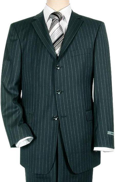 SKU# EMI3B Navy Blue Pinstripe 3 Button Super 140s Wool Mens Suit $225