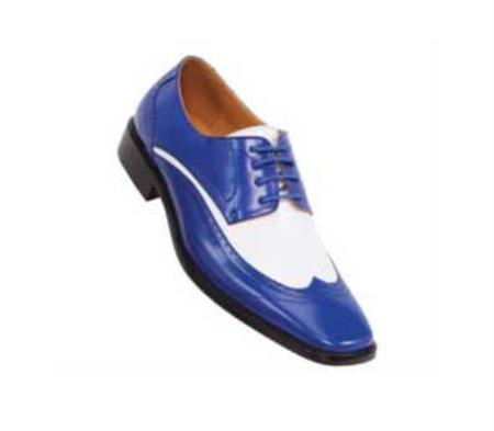 SKU#BZ5501 classic comfortable latest in fashion P1056-052 Two Tone Royal / White Mens Dress Shoe $125