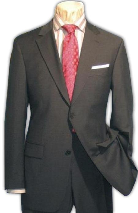 Mens 2 Button Charcoal Gray Super 150s Wool Dress Business ~ Wedding 2 piece Side Vent - Color: Dark Grey Suit