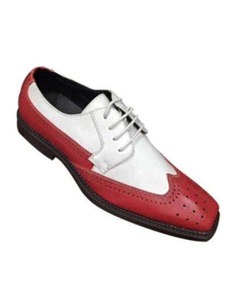 SKU#KW2217 classic comfortable latest in fashion Two Tone RED / White Mens Dress Shoe $125