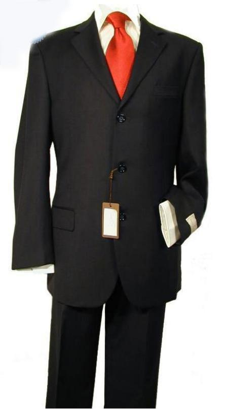 SKU#MW2217 Mens 3 Button Black Suit with Shirt and Red Tie