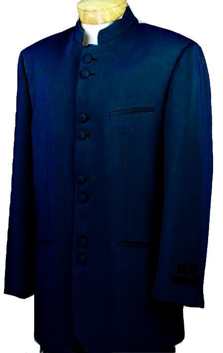 SKU#NVQ7212 Mandarin Collar BANNED Collar Navy Blue Suit 8 Button Extra Fine Discount Sale Designer Suit $149