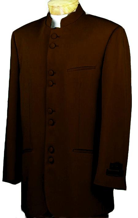SKU#BWN6541 Mandarin Collar BANNED Collar Brown Suit 8 Button Extra Fine French Cut Suit $149