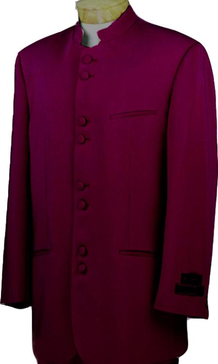 SKU#BGY8133 Mandarin Collar BANNED Collar Burgundy ~ Maroon ~ Wine Color Suit 8 Button Extra Fine Discount Sale Designer  Suit $149