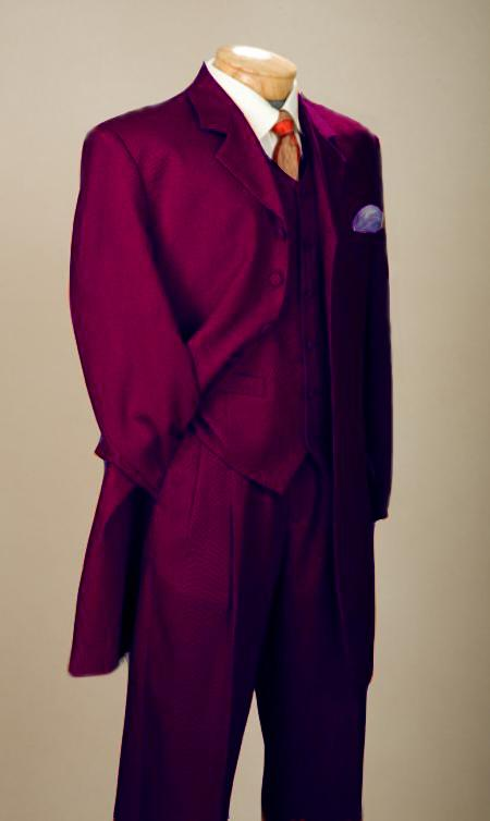 1940s Men's Suit History and Styling Tips Fashionable Burgundy Mens Zoot Suit $125.00 AT vintagedancer.com