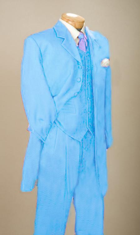 SKU#BUQ7916 Fashionable Light Blue ~ Sky Blue Mens Zoot Suit