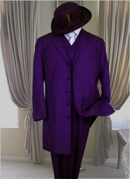 1940s Men's Suit History and Styling Tips Classic Long Dark Purple Fashion Zoot Suit $499.00 AT vintagedancer.com