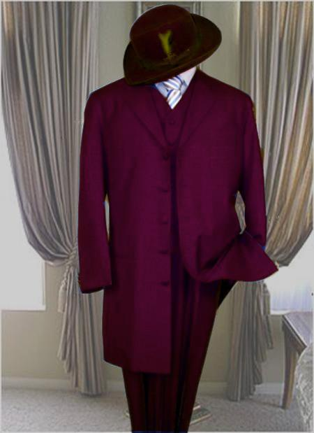 SKU#BGY6565 Classic Long Burgundy ~ Maroon ~ Wine Color Fashion Zoot Suit
