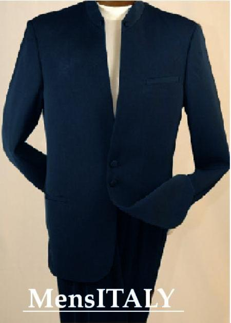 SKU#NX11311 Split Collar Highest Quality Mens Navy Blue Mandarin Collar Two Button Suit $249